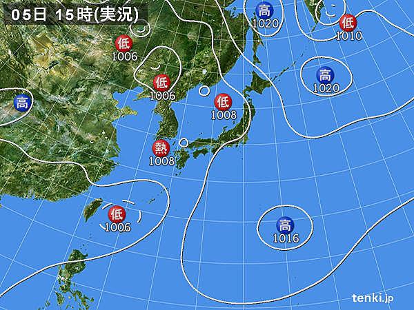 実況天気図(2016年09月05日)