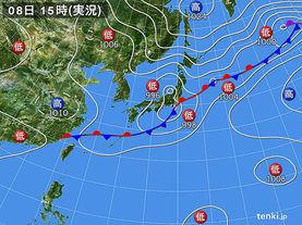 実況天気図(2016年09月08日)