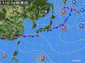 実況天気図(2016年09月11日)