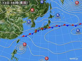 実況天気図(2016年09月13日)