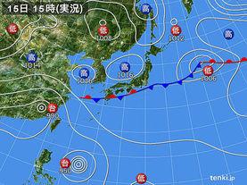 実況天気図(2016年09月15日)