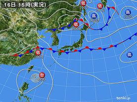 実況天気図(2016年09月16日)