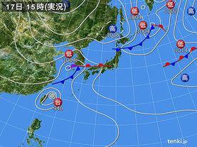 実況天気図(2016年09月17日)