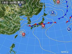 実況天気図(2016年09月18日)