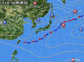 実況天気図(2016年09月21日)