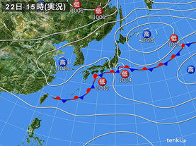 実況天気図(2016年09月22日)