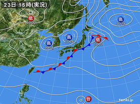 実況天気図(2016年09月23日)