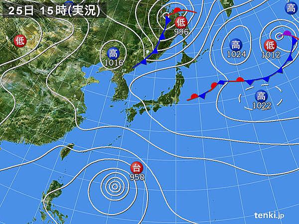 実況天気図(2016年09月25日)
