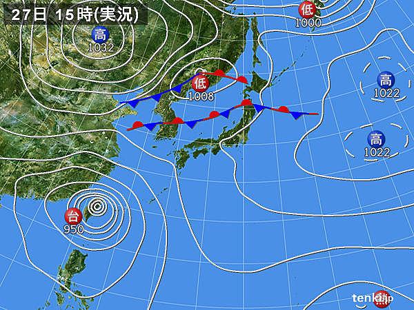 実況天気図(2016年09月27日)