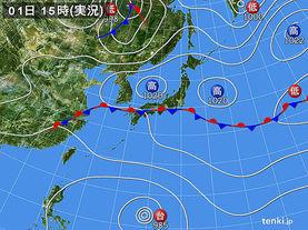 実況天気図(2016年10月01日)
