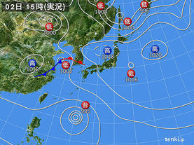 実況天気図(2016年10月02日)