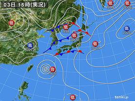 実況天気図(2016年10月03日)