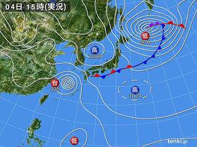 実況天気図(2016年10月04日)