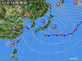 実況天気図(2016年10月07日)