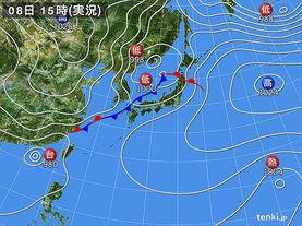 実況天気図(2016年10月08日)