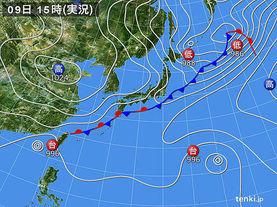 実況天気図(2016年10月09日)