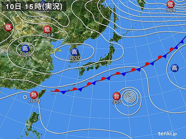 実況天気図(2016年10月10日)