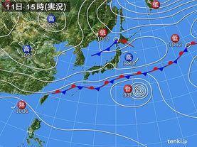 実況天気図(2016年10月11日)
