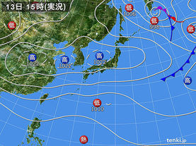 実況天気図(2016年10月13日)