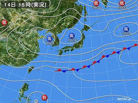 実況天気図(2016年10月14日)