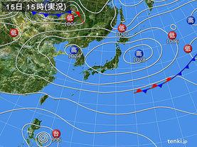 実況天気図(2016年10月15日)