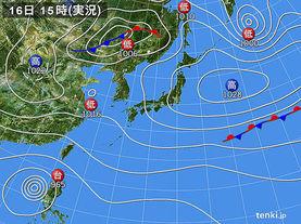実況天気図(2016年10月16日)