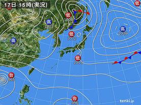 実況天気図(2016年10月17日)