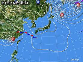 実況天気図(2016年10月21日)