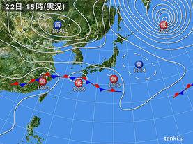 実況天気図(2016年10月22日)