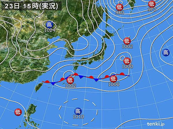実況天気図(2016年10月23日)