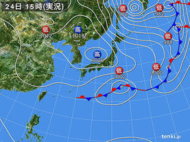 実況天気図(2016年10月24日)