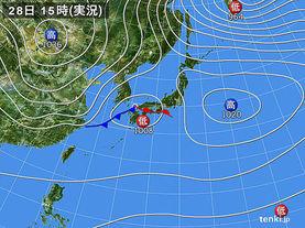 実況天気図(2016年10月28日)