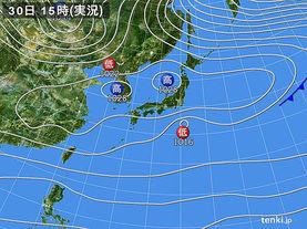 実況天気図(2016年10月30日)