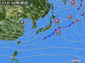 実況天気図(2016年11月01日)