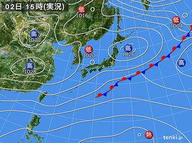 実況天気図(2016年11月02日)