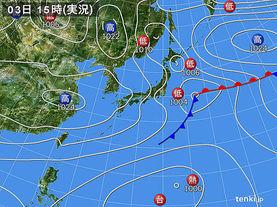実況天気図(2016年11月03日)