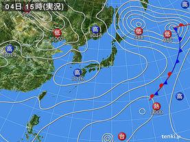 実況天気図(2016年11月04日)