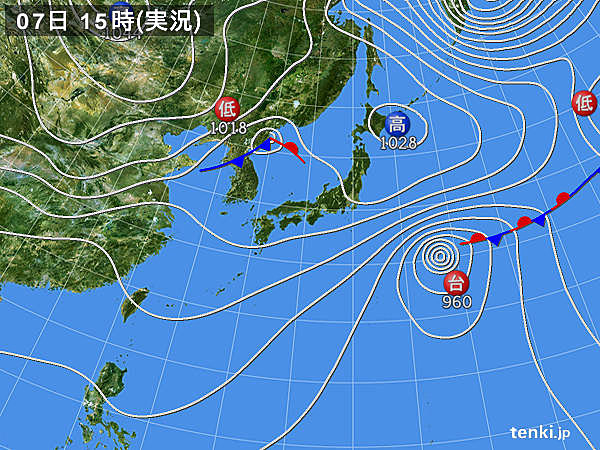 実況天気図(2016年11月07日)
