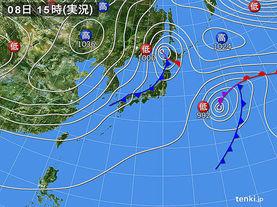 実況天気図(2016年11月08日)