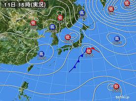 実況天気図(2016年11月11日)