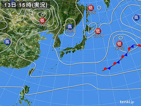 実況天気図(2016年11月13日)