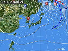 実況天気図(2016年11月16日)