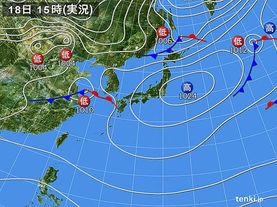 実況天気図(2016年11月18日)
