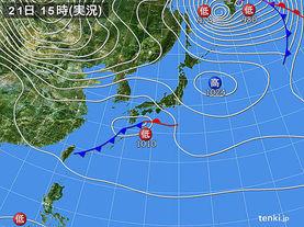 実況天気図(2016年11月21日)