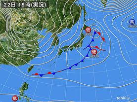 実況天気図(2016年11月22日)