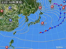 実況天気図(2016年11月23日)