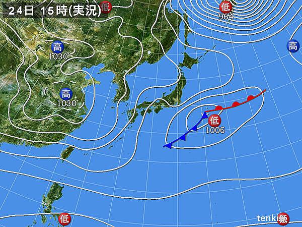 実況天気図(2016年11月24日)