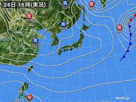 実況天気図(2016年11月25日)