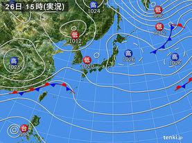 実況天気図(2016年11月26日)
