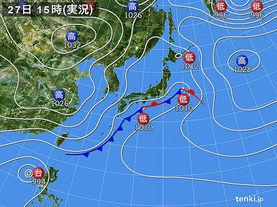 実況天気図(2016年11月27日)